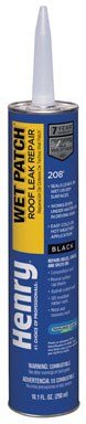 Henry HE208104 208 Wet Patch Roof Leak Repair Cement, 10.1 oz Cartridge, Black (Pack of 12)