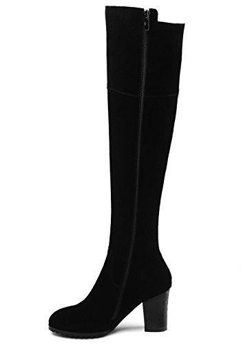Knee Nine Black Women's Boots High Black Seven Suede Winter Leather Round Zip Heel Toe Chunky Up Handmade gr4gOaq