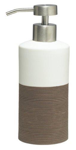 Sealskin soap Dispenser, Doppio, Porcelain, Bath Accessory, Porcelain, Brown, 6.7 x 8.5 x 18 cm