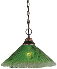 Toltec Lighting 10-BC-715 One-Light Chain Hung Pendant Black Copper Finish with Teal Crystal Glass, 16-Inch