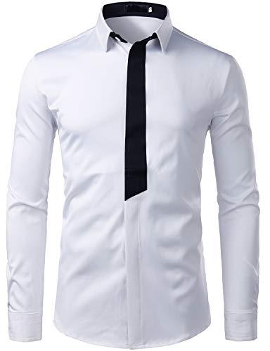- ZEROYAA Men's Hipster Contrast Trim Design Slim Fit Long Sleeve Casual Button Down Dress Shirts ZZCL20 White Medium