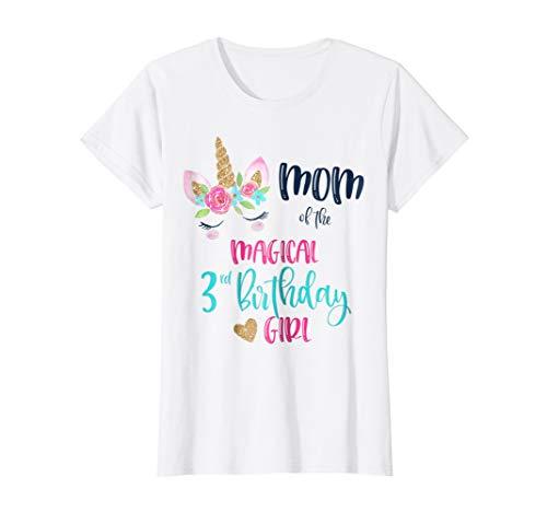Womens Unicorn Mom Of The 3rd Birthday Girl Shirt Matching Daughter