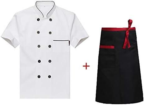 WYCDA Camisa de Cocinero Cocina Uniforme Manga Corta con Delantal Protección del Medio Ambiente Transpirable Disfraz de Chef Apto para Hombres Y Mujeres,Blanco,M: Amazon.es: Hogar