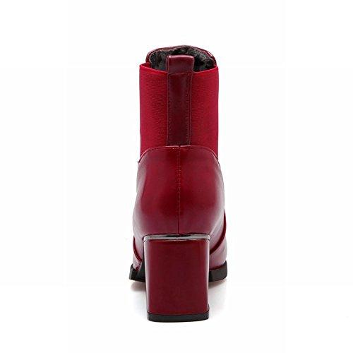 Carolbar Donna Vintage Retro Moda Semplice Tacco Medio Stivaletti Vino Rosso
