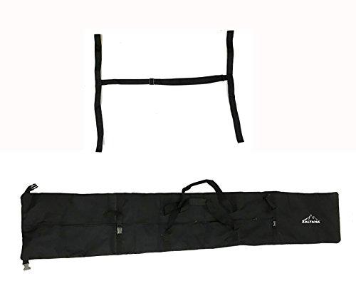 Zaltana SKB18 Padded Ski Carier Bag Rack Holds & 1-1/2'' Ski Shoulder Carrier Lash Handle Straps Combo, Black by Zaltana