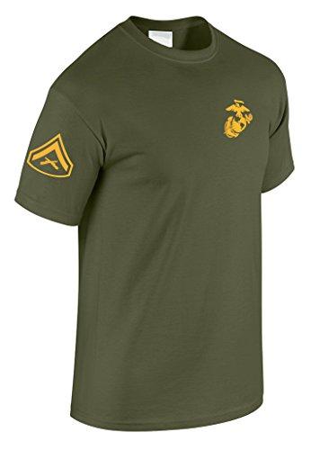 US Marine Corps Lance Corporal T-Shirt w/ Chevron on Sleeve (X-Large, Military Green) ()