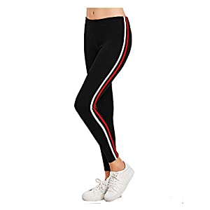 fasla Gym wear Leggings Ankle Length Free Size Workout Trousers, Striped Stretchable Jeggings,High Waist Sports Fitness…