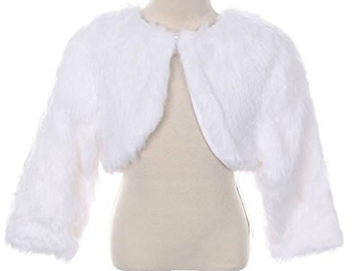 White Faux Fur Pearl Button Special Occasion Shrug Match Flower Girls Dress Size (White Fur Skirt)