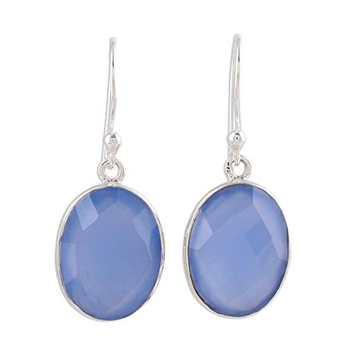 - NOVICA Chalcedony .925 Sterling Silver Pale Blue Dangle Earrings 'Blue Serenity'