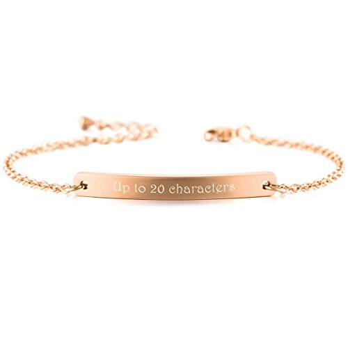 MeMeDIY Rose Gold Tone Stainless Steel Bracelet Link Adjustable - Customized Engraving