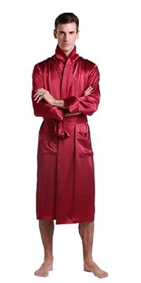 LilySilk Men Long Silk Robe Lapel Collar 22 Momme 100% Pure Silk Claret Oeko- L/40
