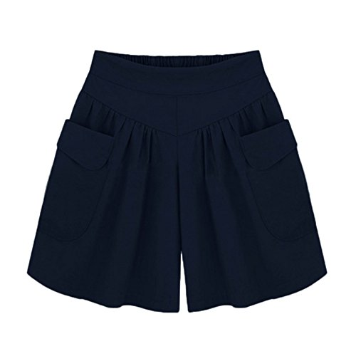(Women Elastic Waist Pocket Pull-On Wide Leg Pants Comfy Bermuda Shorts Lounge Trouser Harem Plus Size Simple Bottoms Navy)