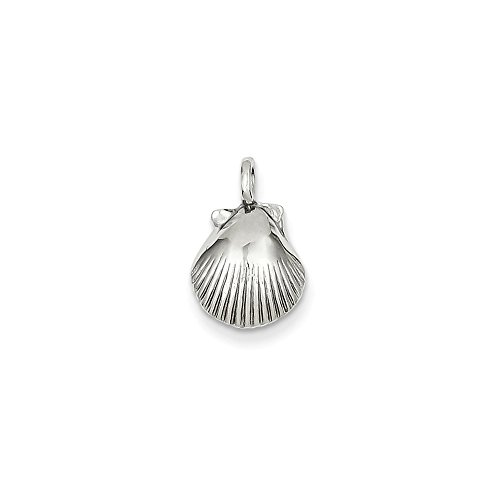 14k Gold White Gold Seashell Pendant (0.63 in x 0.39 in)