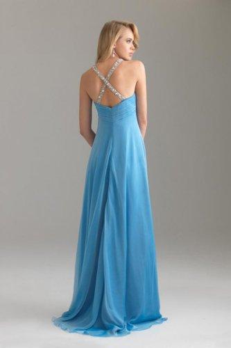 Pinsel Chiffon U Schleppe Damen Empire Blau Abendkleider Ausschnitt Kleidungen Dearta Aermellos FqYOH88n