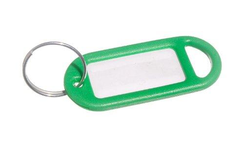 100 X Key Ring Tag 50Mm x 20mm mit Label und Split Key Ring Grün