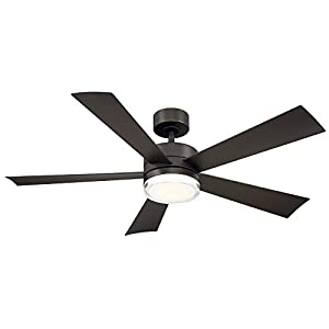 Modern Forms FR-W1801-52L-BZ Wynd 52 Inch Five Blade Indoor/Outdoor Smart Fan with Six Speed DC Motor and LED Light in Bronze Finish Works with Nest, Ecobee, Google Home and IOS/Android App,