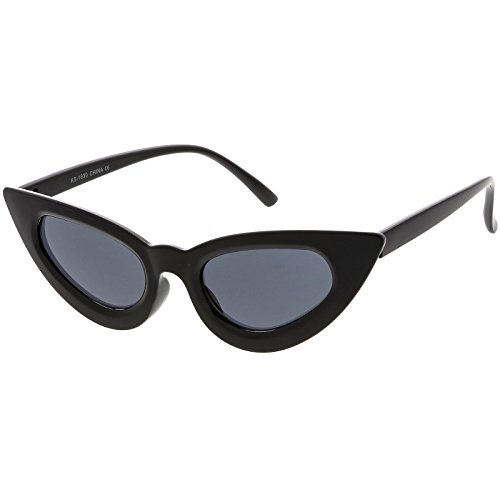 sunglassLA - Women's Thin Extreme Cat Eye Sunglasses Slim Arms Oval Lens 45mm (Black / - Cat Extreme Eye Sunglasses