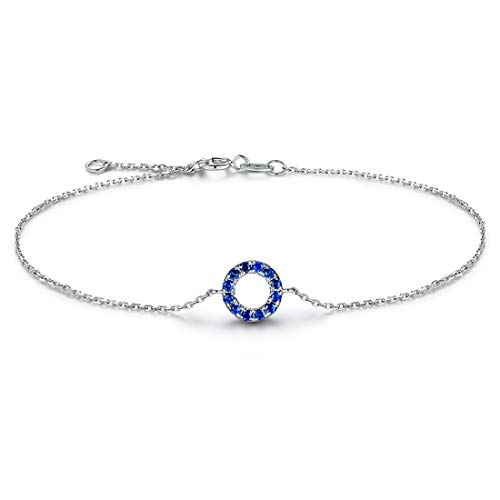 (Carleen 14K Solid White/Rose Gold Open Circle Forever Love Friendship Genuine Blue Sapphire Delicate Bracelet Dainty Jewelry for Women Girls, 7