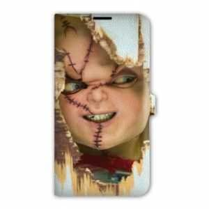 Leather flip case Samsung Galaxy S5 S5 New S5 Neo Horreur - Chucky blanc