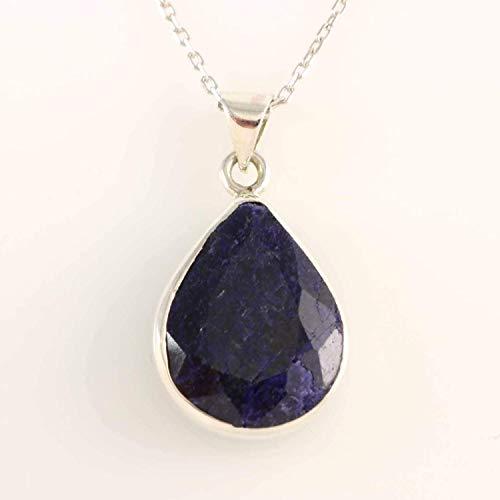 (Sterling Silver Natural Pear Shape Dark Blue Sapphire Handmade Drop Shape Pendant 18 inches Chain)