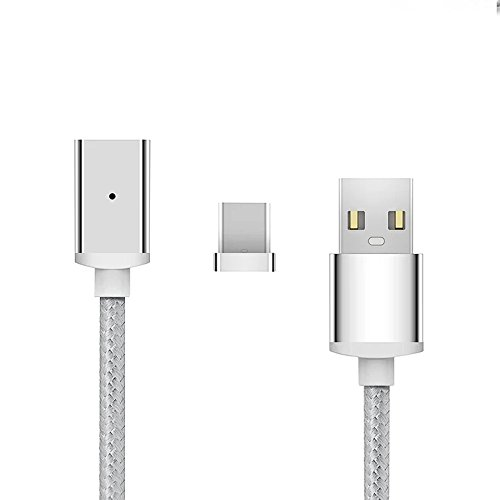 USB C Cable USB Type C Cable,GARAS Nylon Braided Magnetic Charging & Data Transfer Cable for Smart Phone and Tablets Galaxy S8/S8 Plus,LG G6/G5,Nokia 950/950XL etc (3.3ft-Silver) Magnet Type