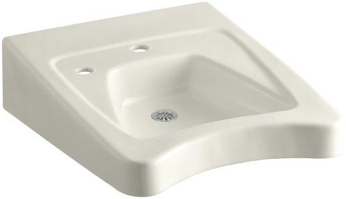 KOHLER K-12638-L-96 Morningside Wheelchair Bathroom Sink with Single-Hole Drilling and Soap Dispenser Drilling on Left, Biscuit -