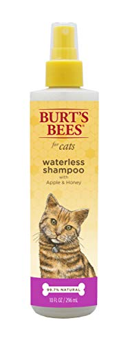 Burt's Bees for Cats Natural Waterless Shampoo with Apple & Honey | Cat Waterless Shampoo Spray, 10 oz
