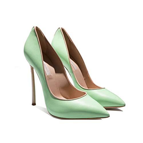 Chaussures Femmes De Profilé Slim Chaussures Talon Fermé Pointé Soirée Plateforme Haut Mercure Banquet Profondes Bout Métal Green Peu UgnRxgHq