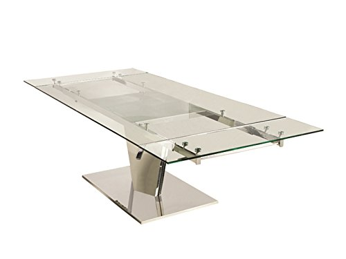(Casabianca Furniture Diamond Collection Polished Extendable Dining Table, Stainless)