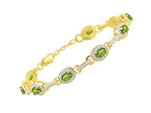 Stunning Peridot & Diamond S Tennis Bracelet Set in Yellow Gold Plated Silver - Adjustable to fit 7