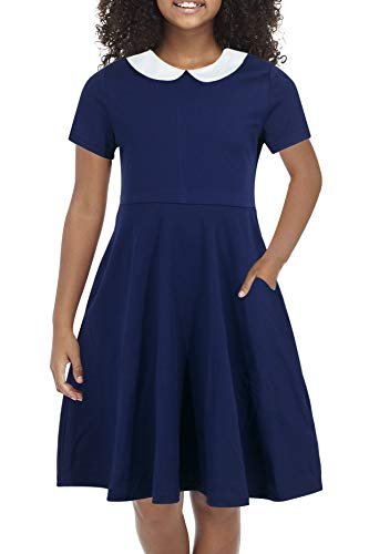 Gorlya Girl's Short Sleeve Casual Vintage Peter Pan Collar Fit and Flare Skater Party Dress with Pockets 4-12 Years (GOR1006, 6-7Y, Navy Color) -