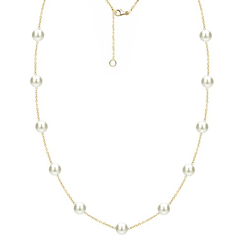 - Gold Plated Sterling Silver Tin Cup Station Freshwater Cultured White Pearl Necklace 6-6.5mm 18 inch