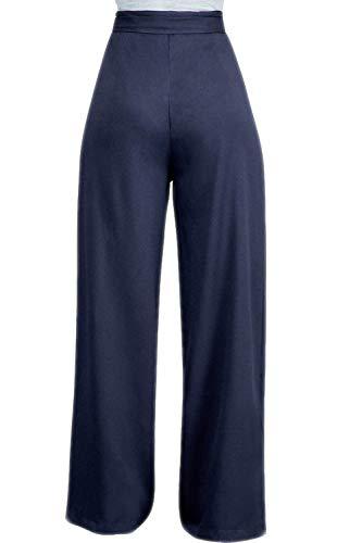 Gamba Blu Vemubapis Con Cintura Pantaloni Per Donne Dei Le Plissettata In Ampia Pantaloni Solido Alto UzAqU6