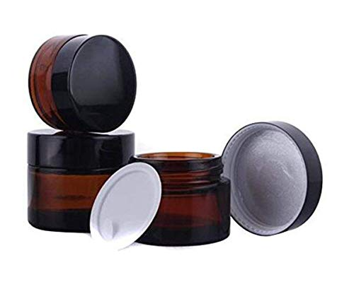 Glass Empty Refillable Cosmetic Cream Bottle Beauty Care Skin Cream Jar Pot with Black Aluminum Cover ()