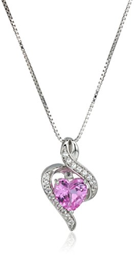 - Sterling Silver Created Pink and White Sapphire Wrapped Heart Pendant Necklace, 18
