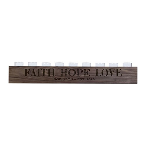 "LifeSong Milestones Personalized Home Walnut Candle Holder Faith Hope Love gift ideas for Bride and Groom Couples, Parents, Grandparents 28"" L x 3.75"" H (Faith Hope Love) by LifeSong Milestones"