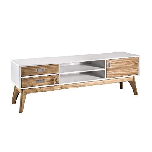 Manhattan Comfort CS96608 Jackie Midcentury Tv Stand Large White/Natural Wood