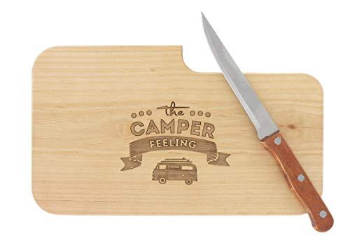 LASERHELD nachhaltiges Brotzeitbrett Schneidebrett Jausenbrett Holz Messer Geschenk Männer Frauen Geschenkidee für Ihn…