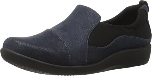Clarks Women's CloudSteppers Sillian Paz Slip-On Loafer, Navy Synthetic Nubuck, 6 M US ()
