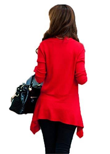 Casual Larga Tejido Mujer Moda Rot Plisado Chaqueta Outwear Sólido Abrigo Color Espesor Manga Otoño Largos Cómodo Prendas Exteriores Basicas vq1w5znq
