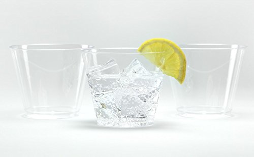 Hard Plastic Tumblers 9 oz Party Cups-Old Fashioned Glass, 100 Count Drinking Glasses Crystal (Plastic Party Tumblers)