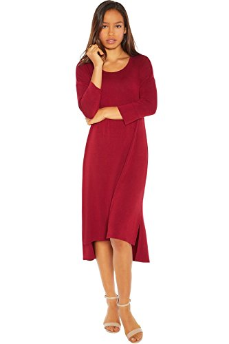 Rohb by Joyce Azria Venice ¾ Sleeve Straight Hem Highlow Dress with Side Slits (Burgundy) Size XS