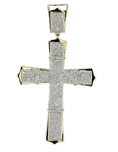 - Midwest Jewellery 10K Gold Extra Large Cross 80mm Mens Diamond Cross Pendant 1.66ctw Pave Set