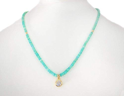 18K Gold Moonstone Pendant Necklace with Aqua Ethiopian Opal Beads and Solid 14K Gold Beads 18
