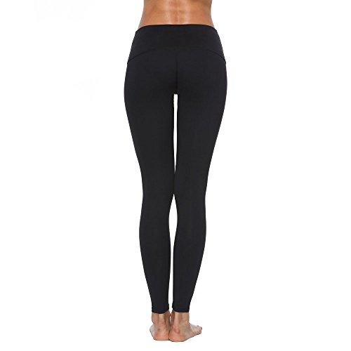 RURING Womens High Waist Yoga Pants Tummy Control Workout Running 4 Way Stretch Yoga Leggings,Medium,Black