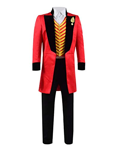 (Qi Pao Kids Greatest Showman Barnum Performance Uniform Halloween Outfit Cosplay Costume (Little Boys 4T, Red)