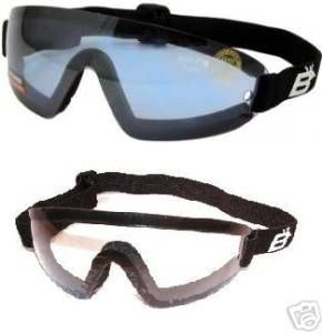 - 2 Skydive Skydiving Goggles One Reduced Glare Light Blue Lens and One Clear Lens With Great peripheral vision design Lenses are shatterproof polycarbonate, 100% UV protection, and are ANTI-FOG coated