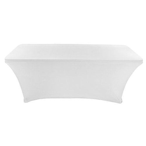 Decorative Desk Chairs - CB Accessories Stretch Table Cover 6ft Rectangular Fitted Spandex Full Length Tablecloth for Weddings, Conferences and Holiday Party (6 ft, White)