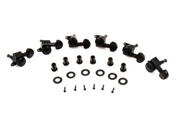 Grover Mini Roto Grip Locking Rotomatics, Set of 6-In-Line, Black Chrome, 505BC6