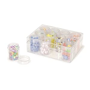 "Darice 1992-89 Clear Bead Organizer 6.3""X4.8""-with 12-Small Boxes"